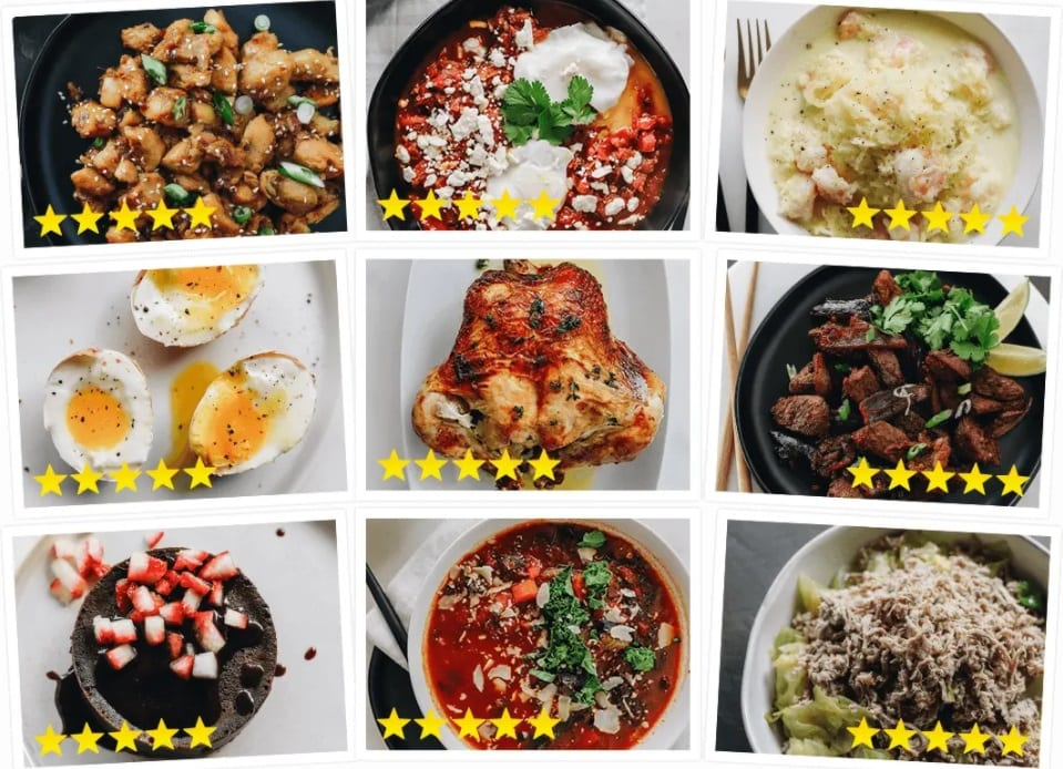 nine, 5 star examples of Keto Diet Recipes meals you can make with the The Keto Shortcut System Recipe cookbook