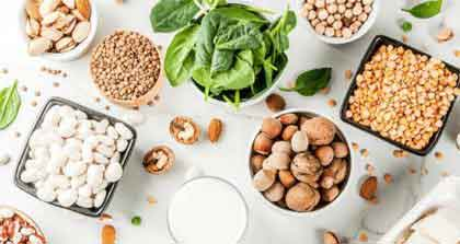 plant based food on a white table cloth