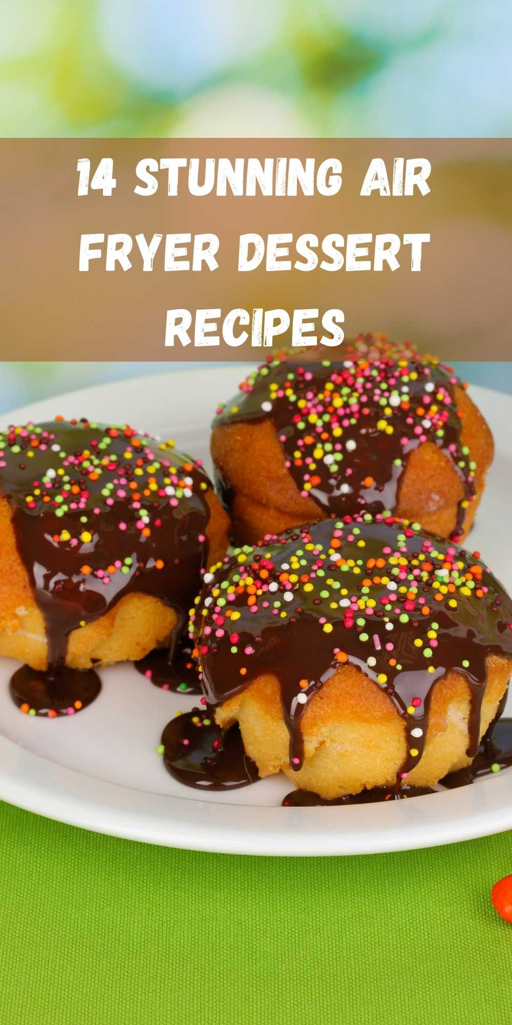 air fryer donuts with chocolate topping and multicoloured sprinkles on top
