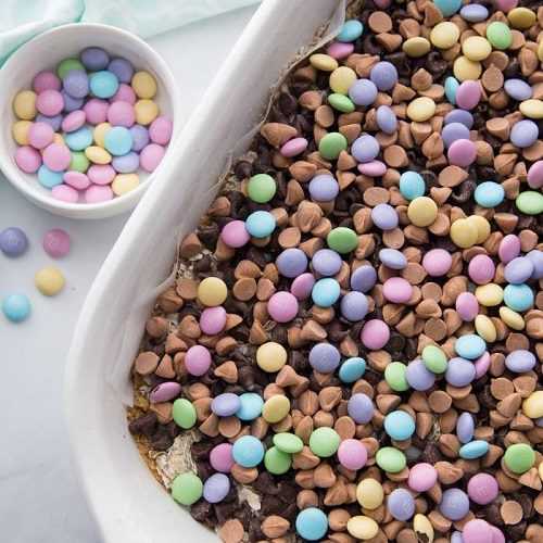 Easter desserts for kids M and M Easter cookie bars