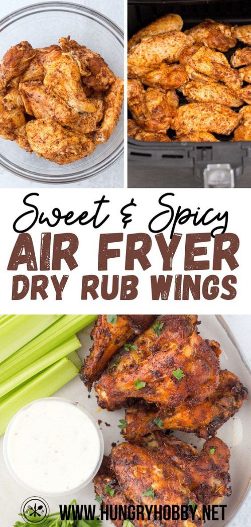 Sweet and spicy dry rub air fryer chicken wings