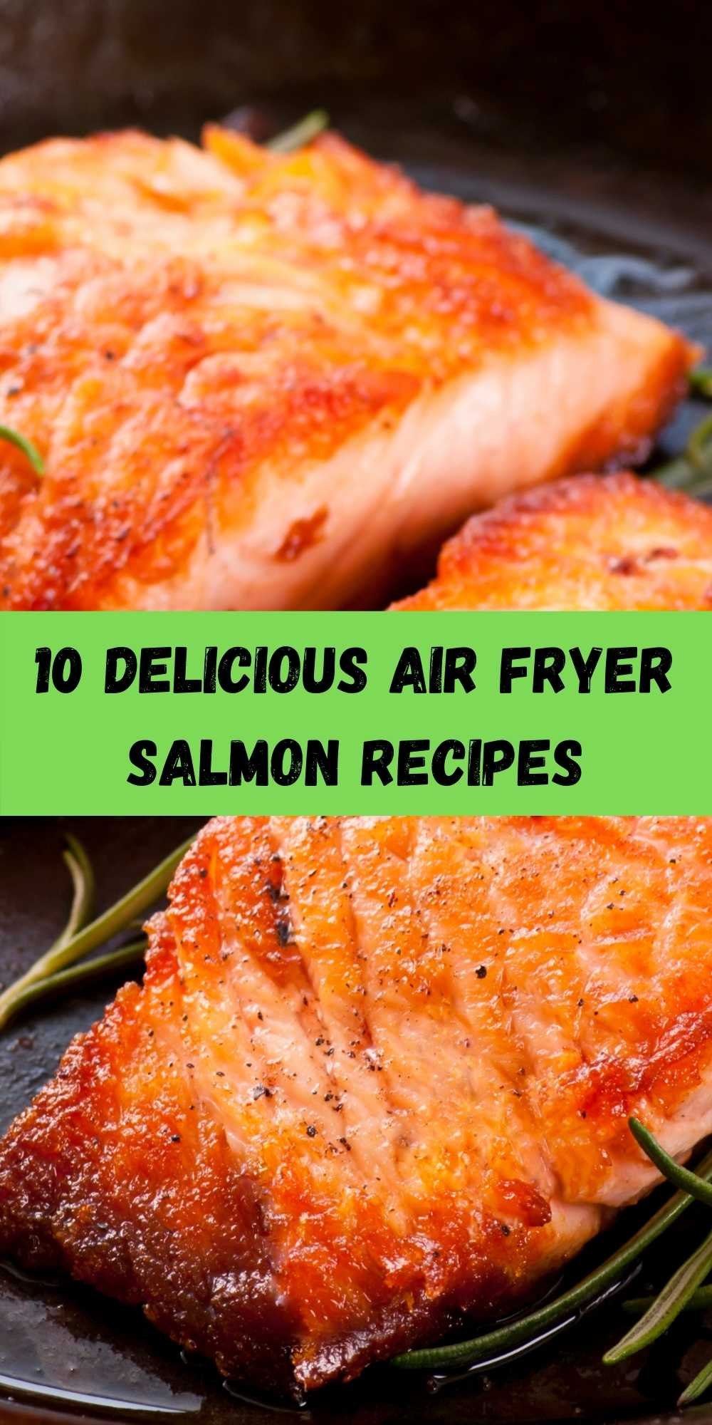 air fryer salmon on a black plate with green beans