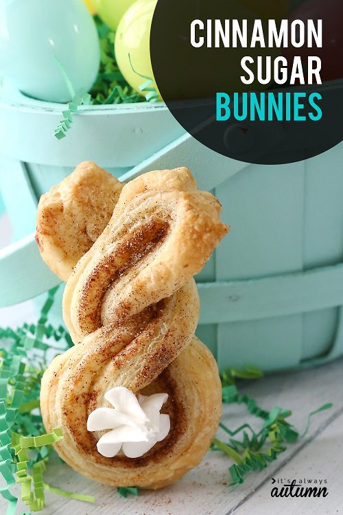 Easter desserts for kids cinnamon sugar bunnies puff pastry easy Easter treat