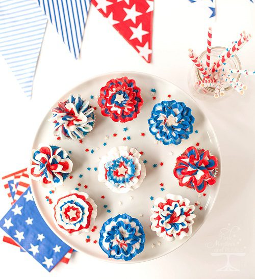 4th of July Desserts Fourth Of July Red, White & Blue Bunting Cupcakes
