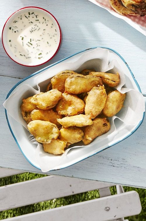 4th of July appetizers Fried Pickles With Buttermilk Ranch