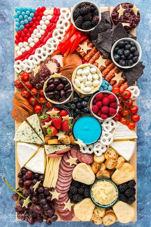 4th of July appetizers Patriotic Charcuterie Board