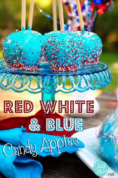 Red White & Blue Candy Apples