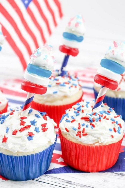 Red, White, and Blue Firework Cupcakes