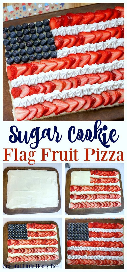4th of July Desserts Sugar Cookie Flag Fruit Pizza