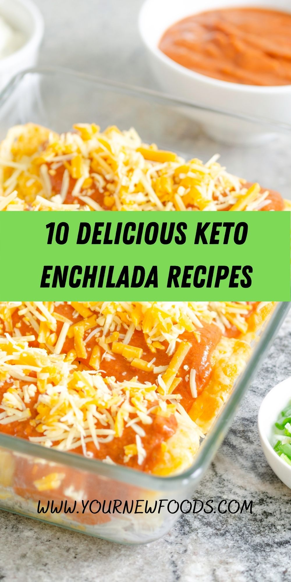 keto enchilada in a glass bowl with grated cheese on top