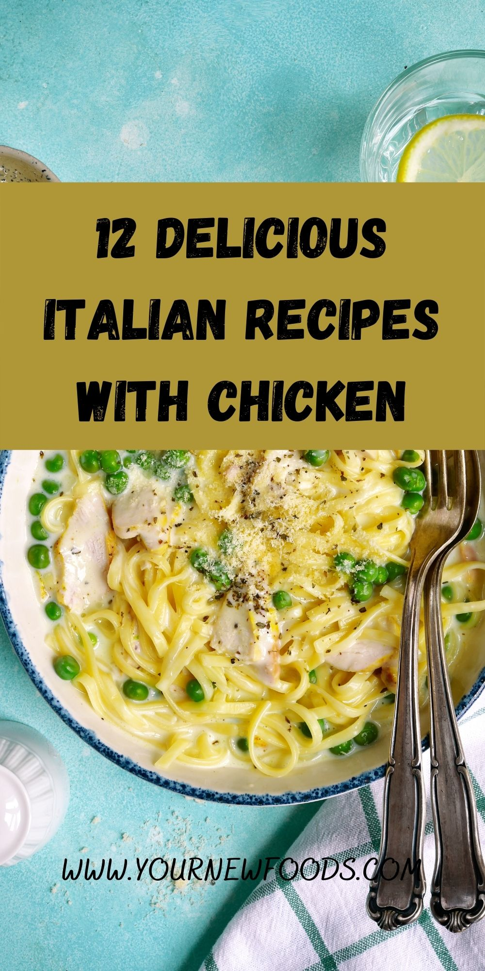 Italian recipes with Chicken carbonara in a white bowl on a blue surface