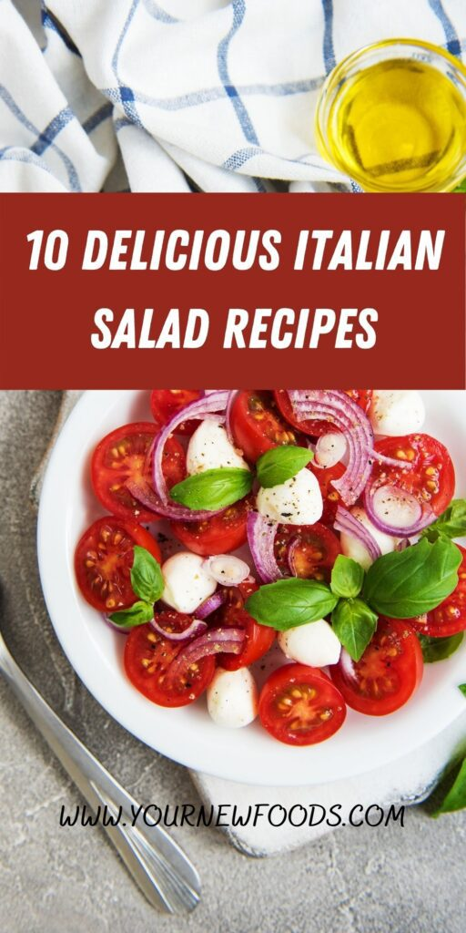Italian salad recipes with a caprice salad on a white plate