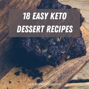 Easy Keto Desserts recipes with a chocolate brownie on a wooden chopping board and wooden table