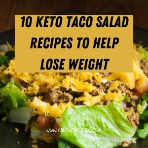 Taco Salad Recipes to Help Lose Weight with a taco salad and a black background