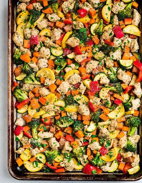 Sheet Pan Chicken with Rainbow Vegetables