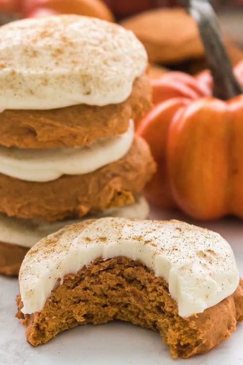 Dessert Recipes For Thanksgiving Pumpkin Cookies with Cinnamon Cream Cheese Frosting