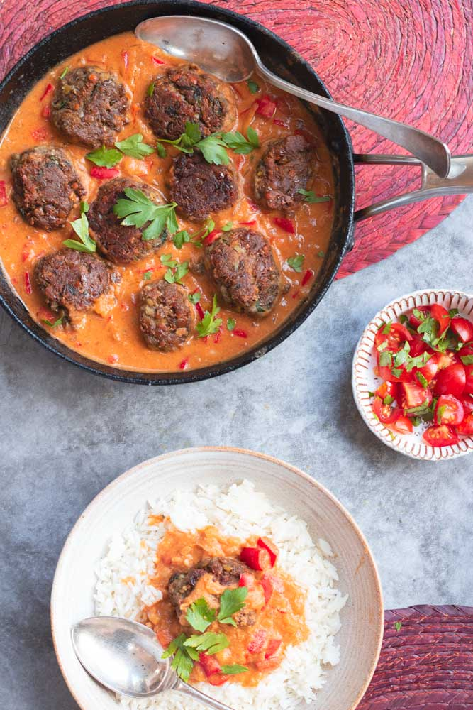 Vegan Curries Recipes Lentil Koftas with Tomato Curry Coconut Sauce
