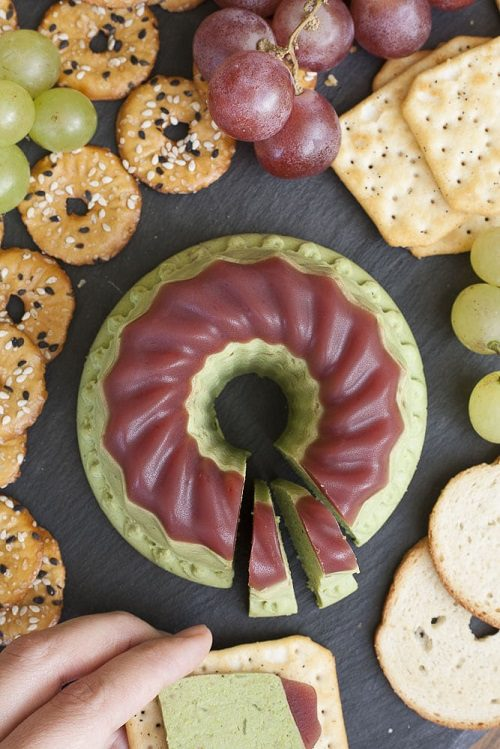 Vegan Thanksgiving Appetizer Pistachio Nut Cheese with Cranberry Jelly