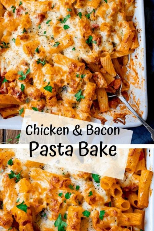 Casserole Recipes With Pasta Cheesy Pasta Bake With Chicken And Bacon