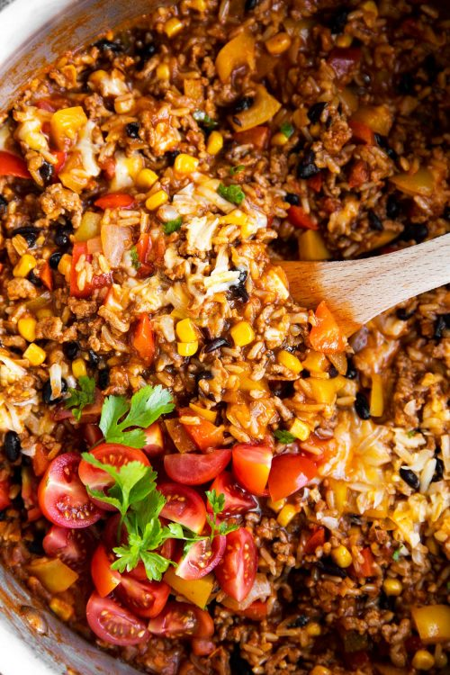 Mexican Beef and Rice Skillet
