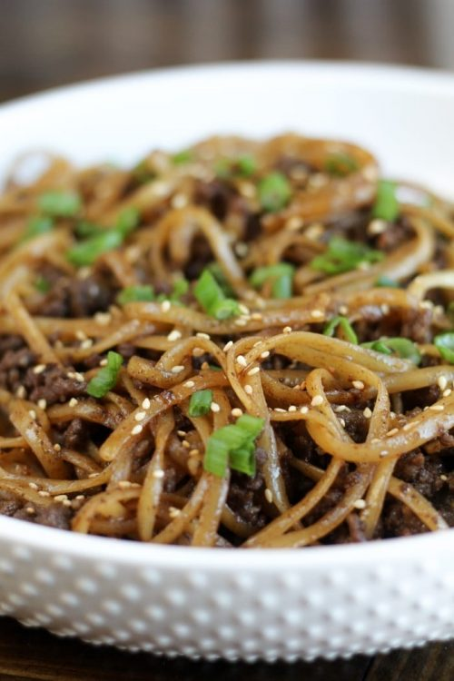 Mongolian Ground Beef Noodles