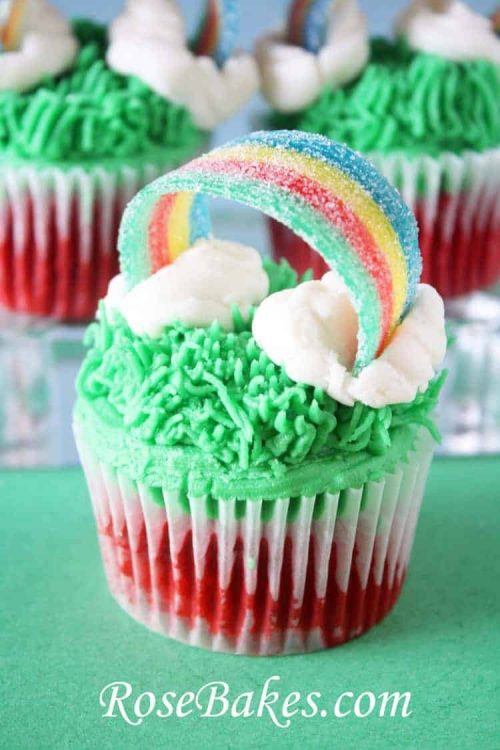 St. Patrick's Day Cupcakes with Sour Power Rainbows